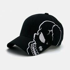 Black Skull Skateboard Biker Halloween Costume Ball Gothic Goth Baseball Cap Hat