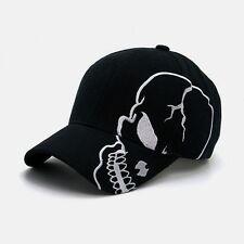 Black Skull Skateboard Biker Skeleton Costume Ball Gothic Goth Baseball Cap Hat