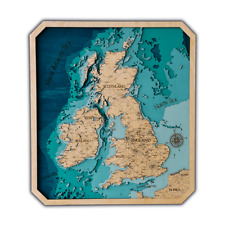 Bathymetric UK Map, Birch Wooden 24X27 inch