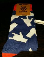 K.SWISS PEACE LOVE HAND LANGUAGE SYMBOLS MEN CREW SOCKS. ONE SIZE RED BLUE WHITE