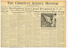 State of Israel Jewish Palestine State Is Recognized By Usa May 17 1948 B5
