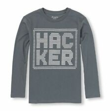 New Boys Children's Place Long Sleeve Hacker Shirt Size S 5/6