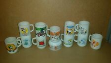 12 VINTAGE FIRE KING ANCHOR HOCKING SNOOPY & PEANUTS MUGS