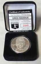 Greg Maddux 999 Silver 1 oz Medal Round MLB Baseball ounce Highland Mint BQ131