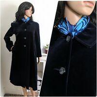 Vintage Midnight Blue Velvet Swing Long Coat Jacket Evening Boho S M 10 12 38