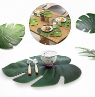 4pcs Set Palm Leaf Durable EVA Cup Coffee Dining Kitchen Table Mats Placemats