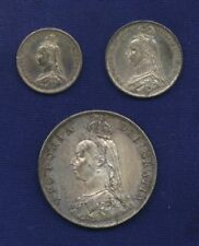"ENGLAND VICTORIA  1887  ""JUBILEE""  3 & 6 PENCE, FLORIN, SILVER COINS, LOT OF (3)"