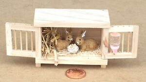 1:12 Scale Natural Finish Wooden Hutch With 2 Pet Rabbits Tumdee Dolls House