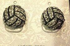 New Volleyball Charm Rhinestone Stud Earrings 1/2 inch