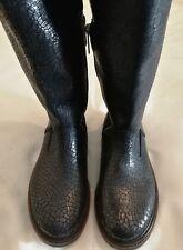SHABBIES AMSTERDAM Caracas Cracked Leather Knee High  Boots Black uk 3.5 eu 36