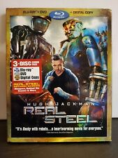 Real Steel (Blu-ray/DVD, 2012, 3-Disc Set, Includes Slip Cover) Hugh Jackman
