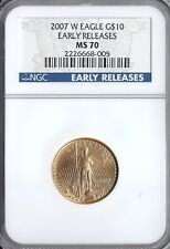 2007-W 1/4 OUNCE BURNISHED GOLD AMERICAN EAGLE $10 NGC MS 70 EARLY RELEASES
