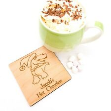 Dinosaur personalised coaster, T Rex design. Stocking, Christmas Eve box filler
