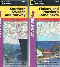 2 NATIONAL GEOGRAPHIC travel maps Finland & No. Scandinavia; So. Sweden & Norway