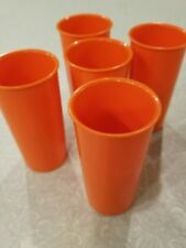 Tupperware glasses set of 5 orange vintage retro 117-22