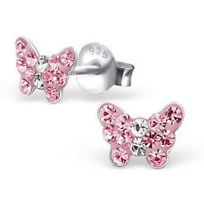 925 Sterling Silver Crystal Rose Pink Butterfly Kids Girls Women Stud Earrings