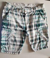 Herren Bermuda, Cargo Shorts W38, kariert grün-weiß-blau-schwarz,
