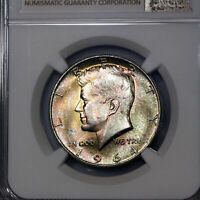 1964 P MS66 Kennedy Half Dollar 50c, NGC Graded, Sunset Color Toning