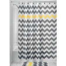 "Waterproof Polyester Wave Shower Curtain 72"" x 72"" Grey White Yellow + 12 Hooks"