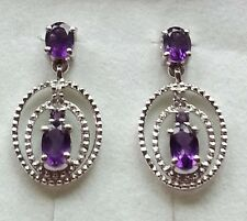 Platinum Overlay 925 Sterling Silver Amethyst & Topaz Pretty Oval Earrings #11