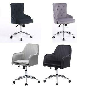 New 360 Swivel Adjustable Back Plush Velvet Home Office Chair UK STOCK