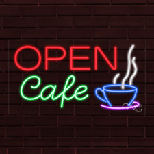 "Brand New ""Open Cafe"" w/Logo 37x20X1 Inch Led Flex Indoor Sign 30672"