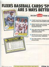 1981 Fleer  BASEBALL Cards Selling sheet  sales sheet vendor info rare A   MBX80