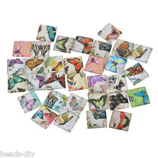 BD 10x Glass Mix Butterfly 20mm Square Cameo Cabochon for Jewellery&Model Making