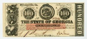1863 Cr.6 $100 The State of GEORGIA Note - CIVIL WAR Era AU/UNC