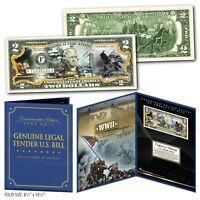 ATTACK ON PEARL HARBOR - WWII Genuine U.S. $2 Bill in Large Folio Display