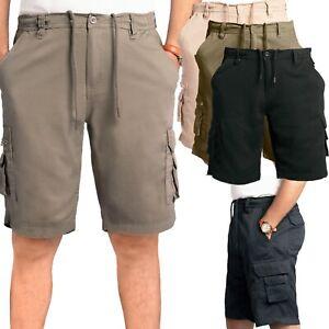 Men's Cargo Combat Elasticated Shorts Summer Knee Length Casual Short Pants