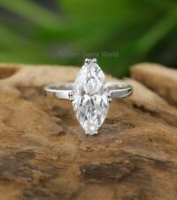 Ring 14k White Gold Finish 3Ct Marquise Cut Moissanite Solitaire Engagement