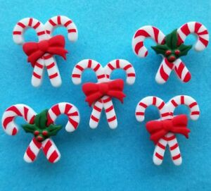 PEPPERMINT PAIRS Christmas Candy Canes Sweet Holly Novelty Craft Buttons Galore