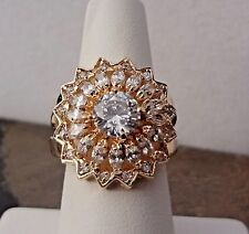 Lenox Cluster Ring- Faceted CZ Crystals - Gold Tone - Size 7- BEAUTIFUL - NEW!