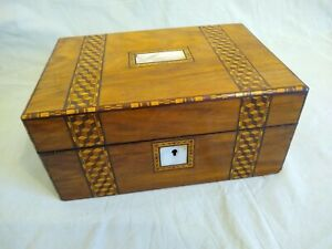 Victorian Sewing Workbox Mother of Pearl Tunbridge Ware Inlay Marketry Parketry