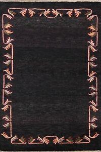 Bordered Gabbeh Kashkoli Oriental Area Rug Hand-knotted Wool Foyer Carpet 3'x4'