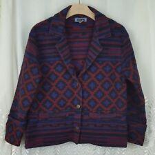 Woman VTG Wool Blend Jacket Coat Aztec Southwest Indian Blanket Size M