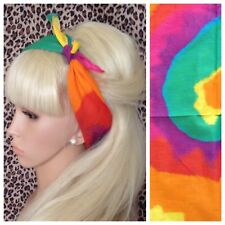 NEW RAINBOW MULTICOLOUR SWIRL PRINT BANDANA HEAD BAND HAIR NECK SCARF HIPPY BOHO