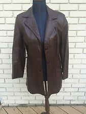 Leather Jacket Vtg 70s Car Coat Brown Button Up Slim Mid Length Kirks Suede Life