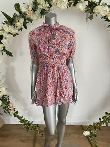 Influence Playsuit Size 8 & 12 Pink Floral Tie Neck Shirred Playsuit New JA55