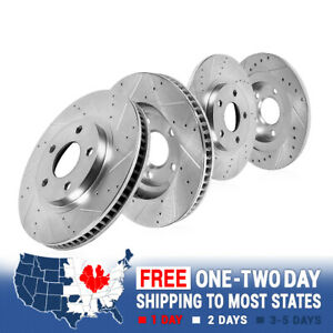 FRONT & REAR DRILLED AND SLOTTED BRAKE ROTORS For 2010 2011 2012 2013 Genesis