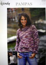Ladies crop jumper pampas super chunky yarn knitting pattern wendy 5314