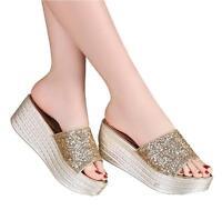 Glitter Slip on Wedges Heels Slides Platform Sequins Sandals Shoes Womens New C8