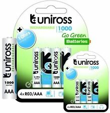 8 x Uniross AAA Rechargeable Batteries 1000 mAh NiMH