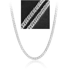 Hot 5mm 20inch 925 Sterling Silver Plated Jewelry Flat Curb Chain Link Necklace
