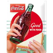 Nostalgic Art Blechschild COCA COLA Good With Food 30 x 40 cm