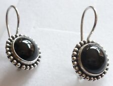 Handcrafted 925 Sterling Silver Natural Cabochon Black  Agate Round Earrings