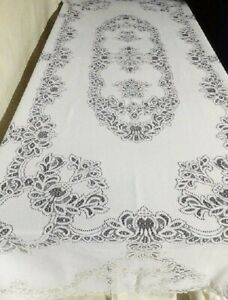 """White Lace Tablecloth Artistry 60 x 104 or 46"""" Table Runner Dining Room Wedding"""