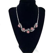 "Sign CORO DES PAT PEND Vintage 15"" Necklace Pink Rhinestone Flower Silver Tn BN7"