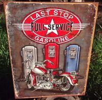 Last Stop Full Service Gasoline Station Tin Metal Sign Garage Classic Auto Shop